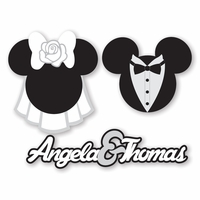 Mickey Heads: Custom Bride and Groom Die Cuts