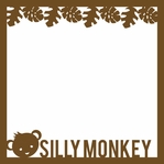 Monkey: Silly Monkey 12 x 12 Overlay Laser Die Cut