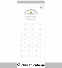 Monochromatic Lily White Sprinkles Glossy Enamel Sticker Dots