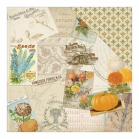 Nestled: Tender Seed Pack Collage/Sweet Flowers 12 x 12 Double-Sided Cardstock