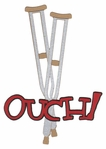 Ouch! With Crutches Laser Die Cut