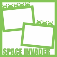 Outer Space: Space Invader 12 x 12 Overlay Laser Die Cut