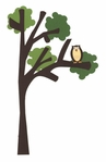 Owl On Tree Border Laser Die Cut