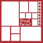 Proud Parent 12 x 12 Overlay Laser Die Cut