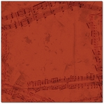 Red Music Notes 12 x 12 Paper