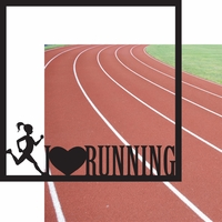 Running: I Heart Running Girl 12 x 12 Overlay Quick Page Laser Die Cut