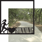 Running: I Heart Running Woman 12 x 12 Overlay Quick Page Laser Die Cut