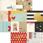 Say Cheese II: 3x4 & 4x6 Gold Foil Elements 12 x 12 Cardstock