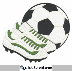 Soccer Ball and Cleats Laser Die Cut