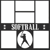 Softball 12 x 12 Overlay Laser Die Cut