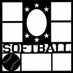 Softball Star Frame 12 x 12 Overlay Laser Die Cut