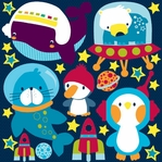 Space Buddies:12 x 12 Icon Sticker