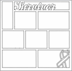 Survivor Ribbon 12 x 12 Overlay Laser Die Cut