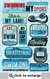Swimming is my Sport Cardstock Sticker Sheet