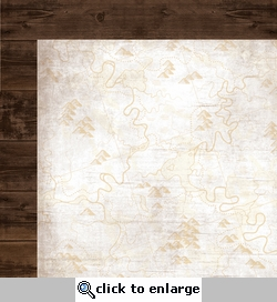 Take a Hike: Brown Wood/Map 12 x 12 Double-Sided Paper