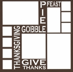 Thanksgiving Words 12 x 12 Overlay Laser Die Cut