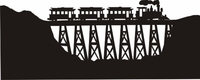 Train on Viaduct Silhouette Die Cut