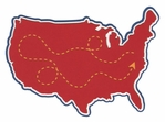 USA with Travel Path Laser Die Cut