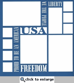 USA Words 12 x 12 Overlay Laser Die Cut