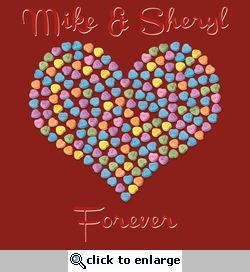 Valentine's Day Candy Heart Custom 12 x 12 Paper