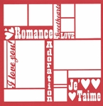 Valentine's Words 12 x 12 Overlay Laser Die Cut