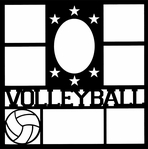 Volleyball Star Frame 12 x 12 Overlay Laser Die Cut