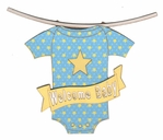 Welcome Baby Clothesline Blue Patterned Laser Die Cut