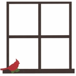 Window With Cardinal 12 x 12 Overlay Laser Die Cut