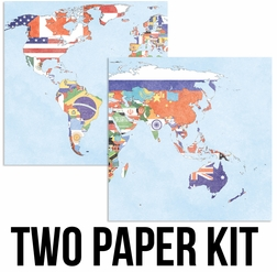 World Map 12 x 12 Paper Kit