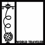 World Traveler Plane 12 x 12 Overlay Laser Die Cut
