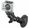 "RAM-B-166-A-GOP1U: RAM Twist Lock Suction Cup Mount, Short Double Socket Arm & 1"" Diameter Ball with Custom GoPro� Hero Adapter"
