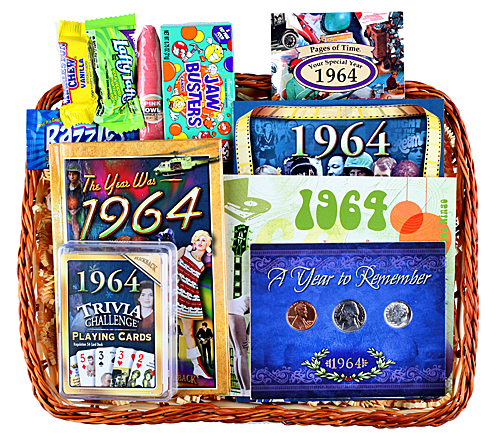 50th Birthday Gift Basket For Men: 50th Anniversary Gift Basket For 1965