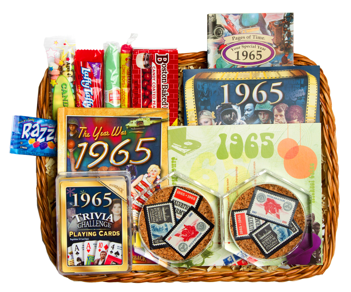 50th wedding anniversary gift basket with 1965 or 1966 stamps