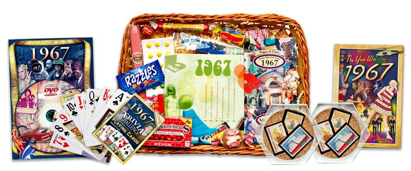 50th Wedding Anniversary Traditional Gifts: 50th Wedding Anniversary Gift Basket With 1967 Stamps