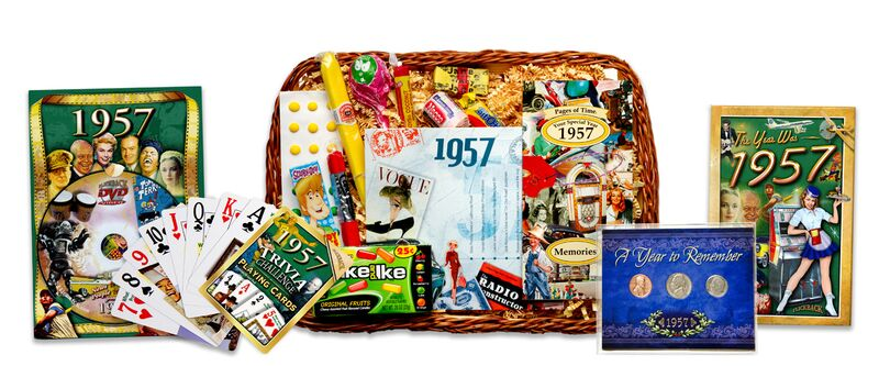 60th Anniversary or Birthday Gift Basket for 1957