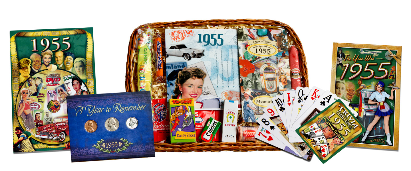 60th Wedding Anniversary Gift Basket : 60th Anniversary or 60th Birthday Gift Basket for 1955