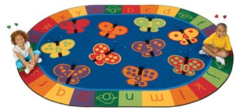 123 ABC Butterfly Classroom Rug Factory Second 6'9 x 9'5 Oval