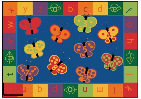 123 ABC Butterfly Fun Rug Factory Second 7'8 x 10'10