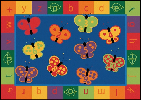 123 ABC Butterfly Preschool Rug 5'5 x 7'8