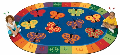 123 ABC Butterfly Preschool Oval Rug 5'5 x 7'8