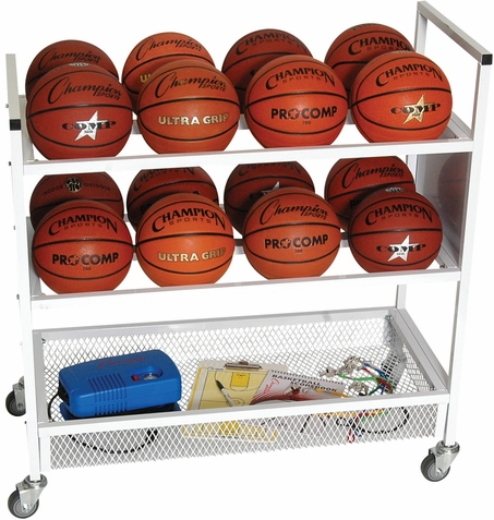 Champion Sports 16 Balls Double Wide Ball Cart w/ Casters