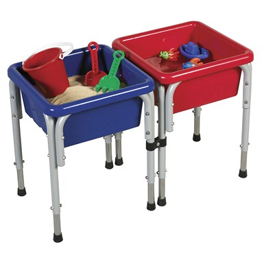 ECR4Kids 2 Station Square Sand & Water Play Table w/ Lids