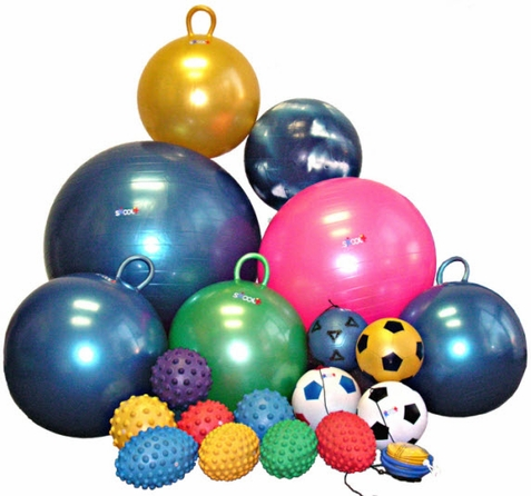 19 Piece Sensory School Gym Ball Set with Pump - Free Shipping