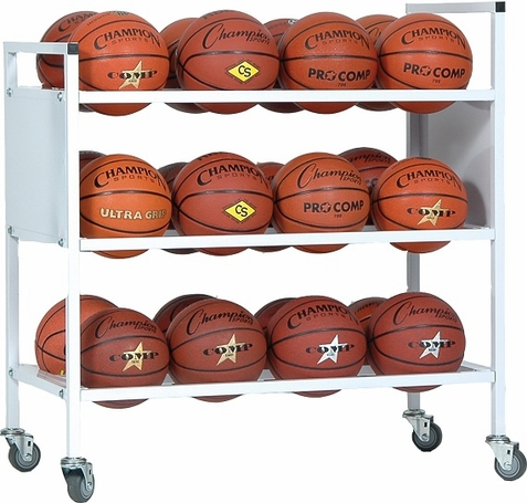 Champion Sports 24 Balls Double Wide Ball Cart w/ Casters