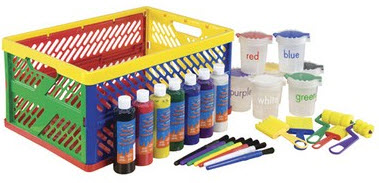 ECR4Kids 27 Piece Paint Set with Collapsible Crate