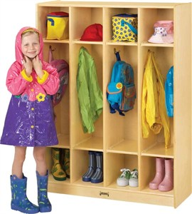 Jonti-Craft 4 Section Wood Coat Locker