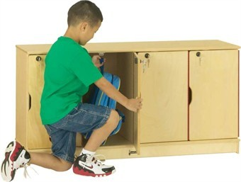 4 Section Wood Stacking Lockable Lockers