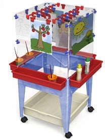 Child's 4 Station Space Saver Easel with Mega Tray & Casters