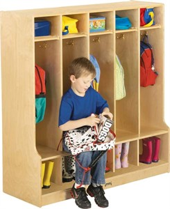 Jonti-Craft 5 Section Wooden Coat Lockers With Step