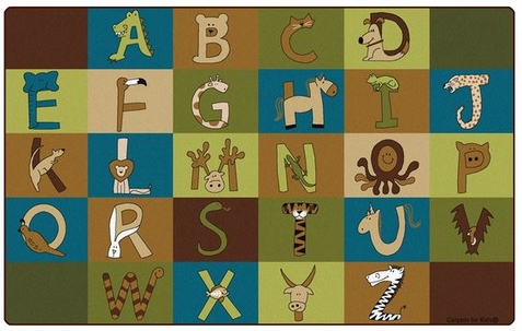 A to Z Animals Nature Colors Classroom Rug 7'6 x 12'
